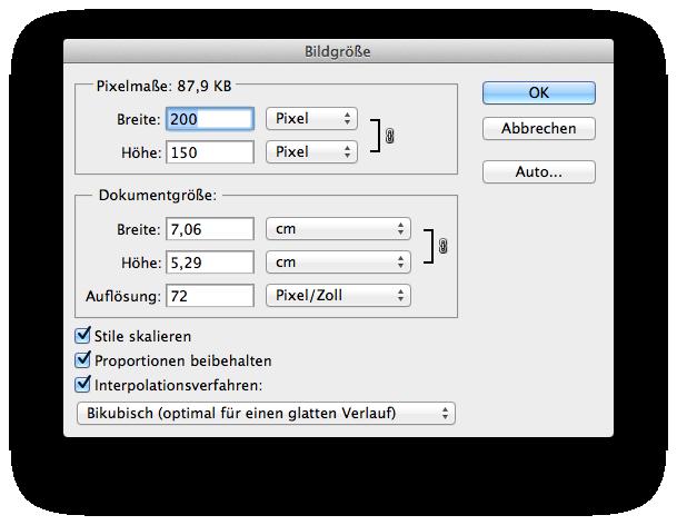 Screenshot Bildgrößen-Dialog Photoshop
