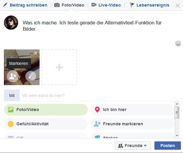 Screenshot Facebook alternative Bildbeschreibung