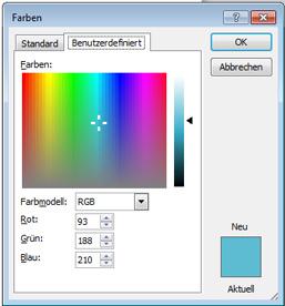 So können Farbwerte in MS Word eingegeben werden