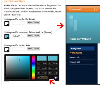 So geben Sie farbwerte auf Ihrer Musterwebsite an.