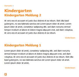 Screenshot: Liste mit allen Beiträgen, die den Tag Kindergarten enthalten